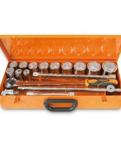 BETA 928A/C12, 12 chiavi a bussola esagonali e 5 accessori in cassetta di lamiera