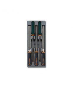 BETA T236 Termoformato rigido con assortimento di 5 utensili, 5 lime a taglio mezzodolce