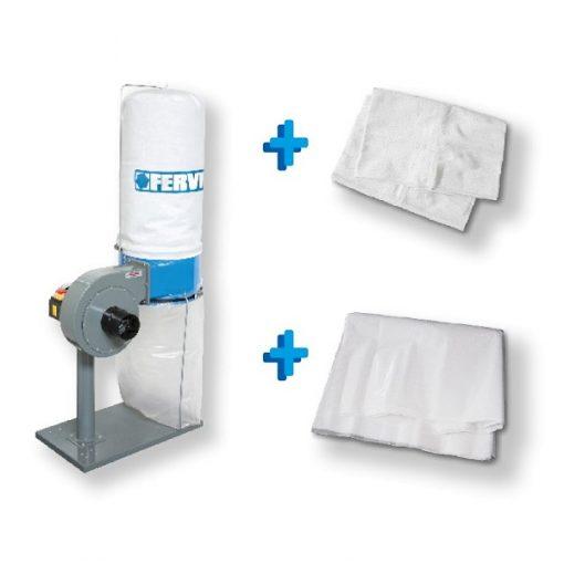 Fervi KIT0128 Aspiratore per trucioli + sacco filtraggio + 10 sacchi in plastica